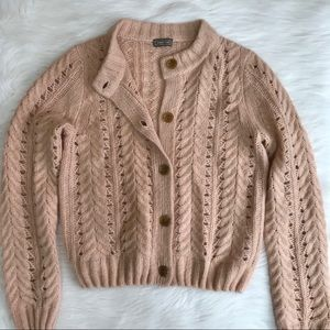 J. Crew Point Sur Pointelle Knit Cardigan Sweater